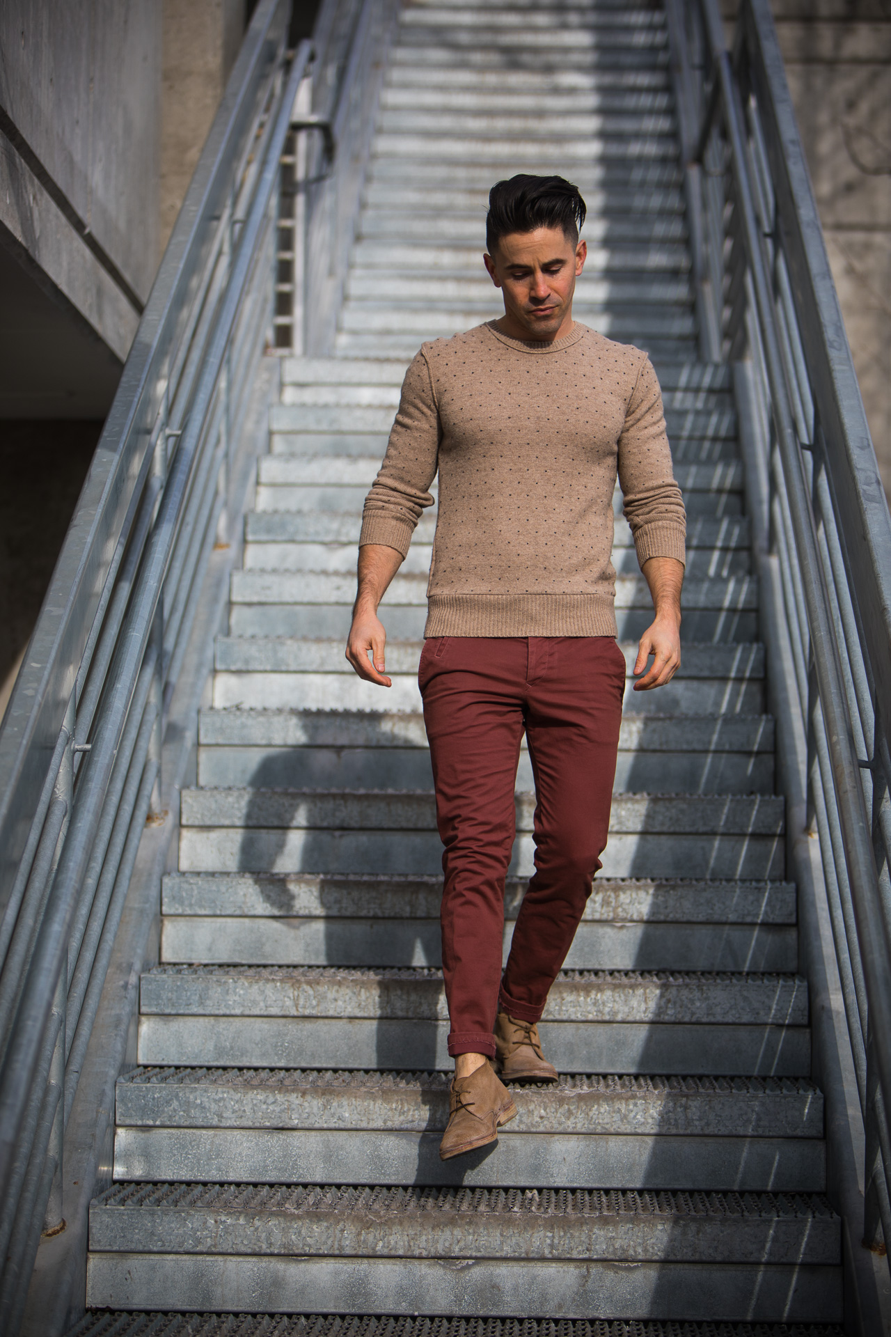 short mens winter wear brick chinos