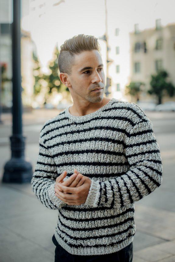 John Varvatos winter sweater for short men