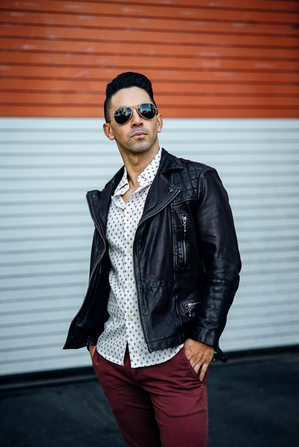 All Saints Leather biker Jacket on Jason LoPresti