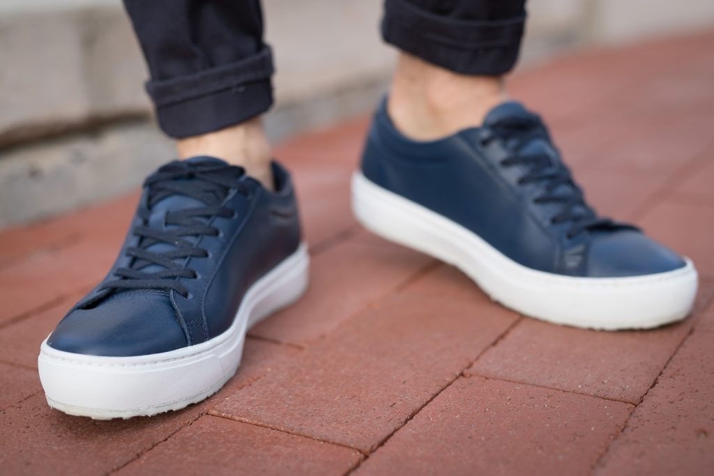 Blue leather lacoste shoes worn by Jason LoPresti