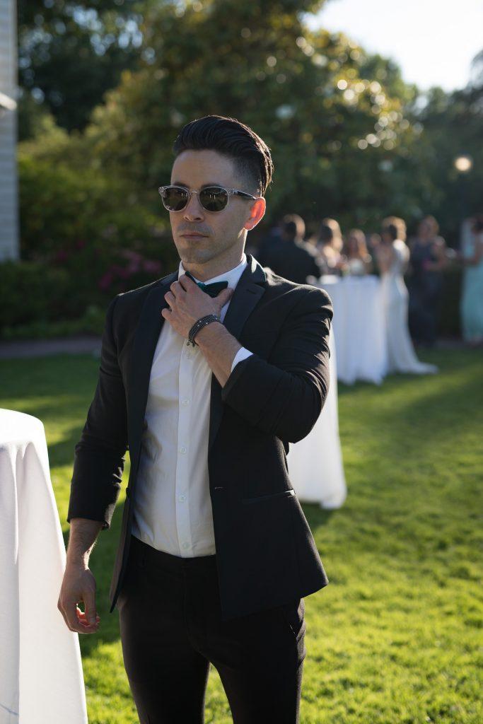 ASOS black tuxedo for short men