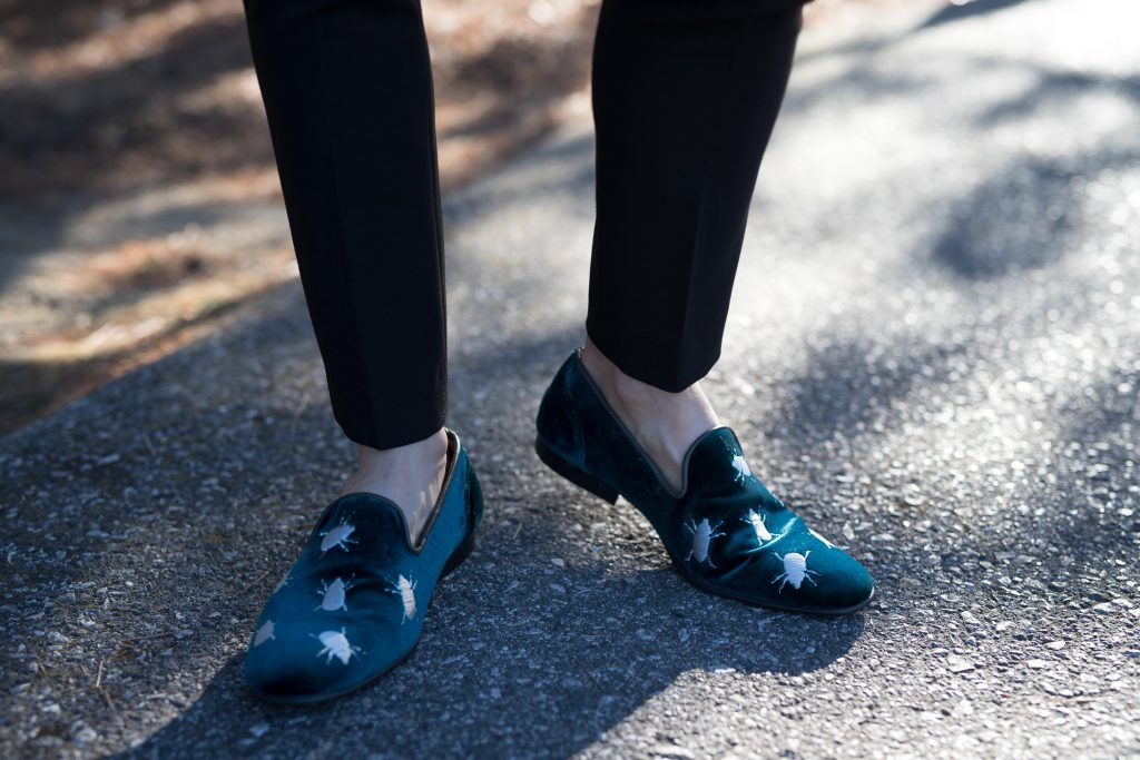 ASOS teal velvet beetle loafers