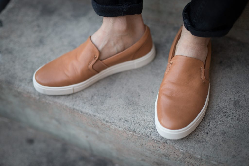 Frye leather slip on shoes in Tan